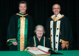 Claire Deschênes received an honorary PhD in engineering from the president of the Université de Sherbrooke
